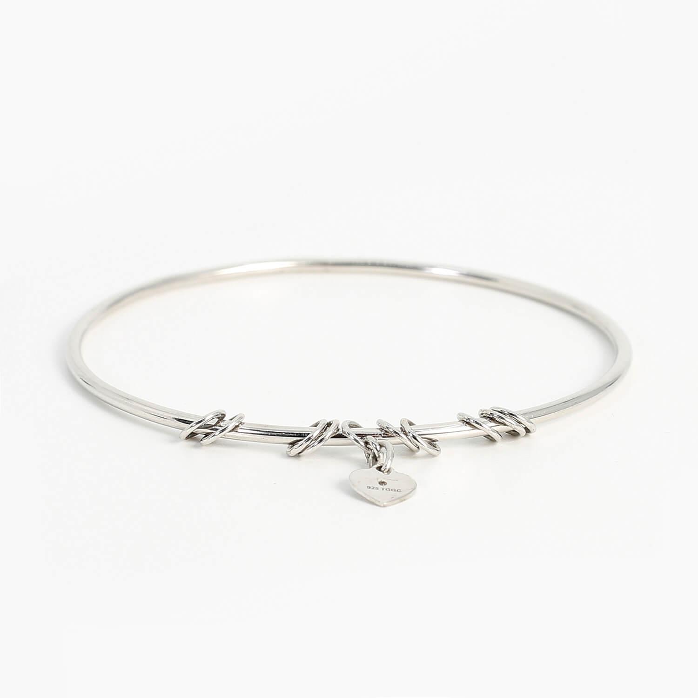 Diamond Sterling Silver Charm Bangle